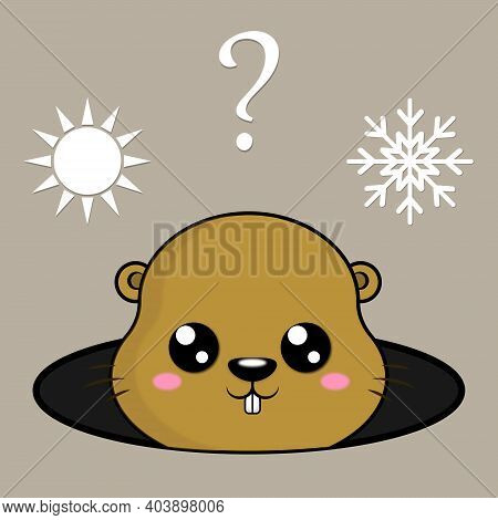 Illustration Of Cute Groundhog And Weather Icons. Winter Or Spring. Cute Marmot Predicts The Weather