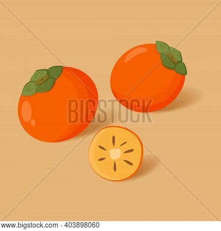 Pair Of Two Whole Persimmons And Half Persimmon. Isolated Cartoon Icon Fruit.