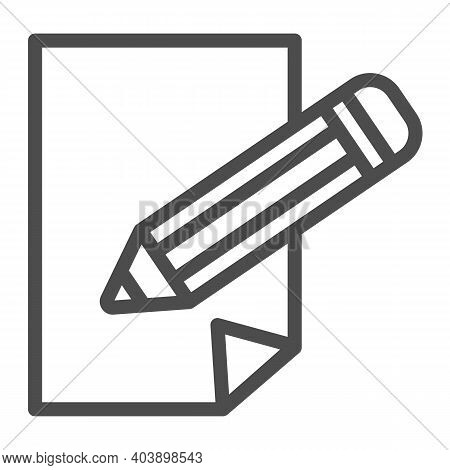 Sheet Of Paper And Pencil Line Icon, Education Concept, Pencil And Paper Sign On White Background, P