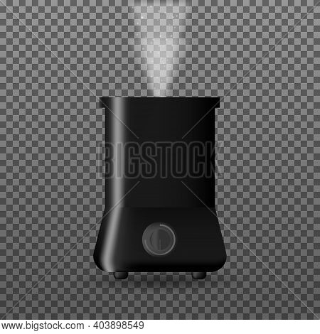 Humidifier With Outgoing Steam. Modern Electric Equipment For Control Climate In Home. Vector Illust