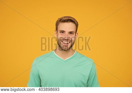 Happy Man With Bristle On Face. Healthy Teeth Concept. Guy With Positive Smile. Male Beauty. Handsom
