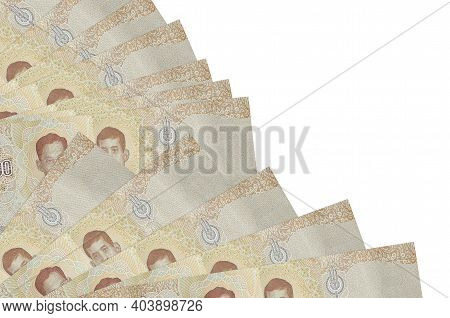 1000 Thai Baht Bills Lies Isolated On White Background With Copy Space Stacked In Fan Close Up. Payd