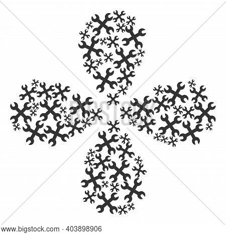 Wrenches Curl Flower Cluster. Element Cluster Designed From Oriented Wrenches Items. Vector Flower C