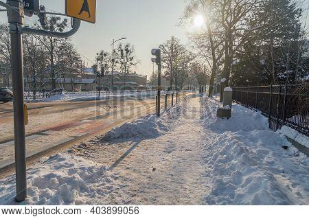 Pruszcz Gdanski, Poland - January 17, 2021: Sunny View On Wojska Polskiego Street At Winter Time.