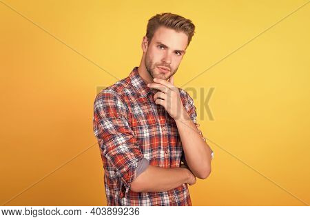 He Know Better. Handsome Guy With Bristle On Face. Male Beauty Standard. Fashion Model On Yellow Bac