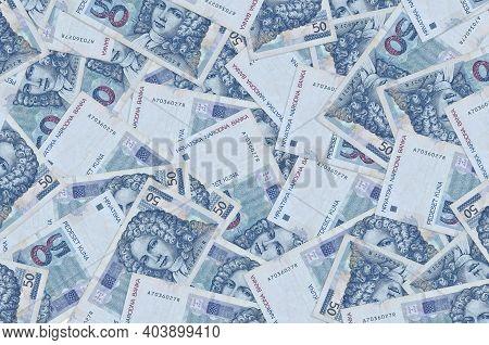 50 Croatian Kuna Bills Lies In Big Pile. Rich Life Conceptual Background. Big Amount Of Money