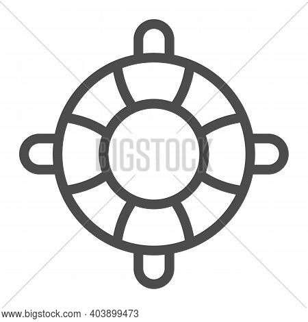 Lifebuoy Line Icon, Waterpark Concept, Inflatable Life Saver Sign On White Background, Lifebuoy Icon