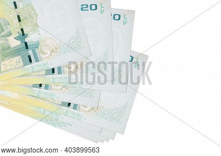 20 Thai Baht Bills Lies In Small Bunch Or Pack Isolated On White. Mockup With Copy Space. Business A