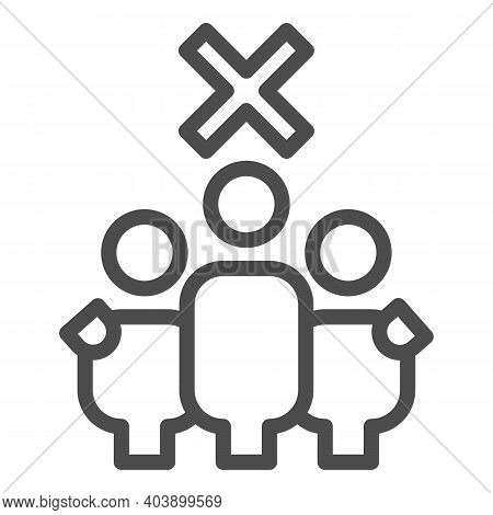 Three Person And Ban Line Icon, Social Distancing Concept, No Three People Group Sign On White Backg