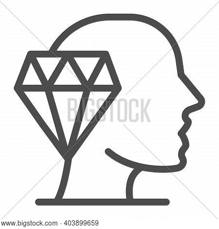 Ruby And Head Line Icon, Education Concept, Crystal Clear Loresign On White Background, Ruby And Hea