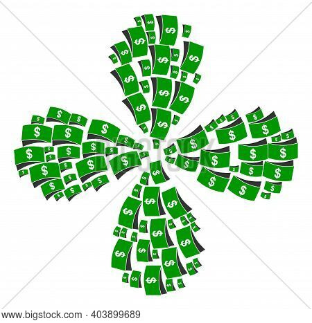 Dollar Bills Centrifugal Flower Cluster. Element Centrifugal Explosion Organized From Oriented Dolla