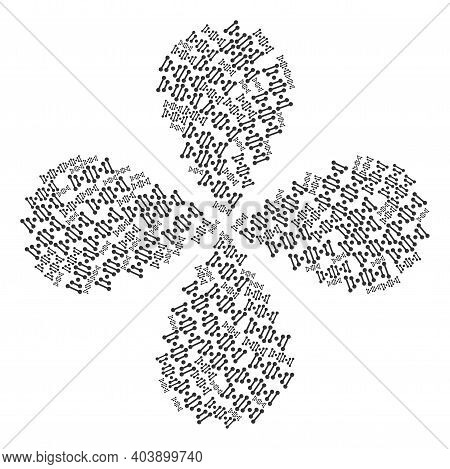 Genome Code Explosion Abstract Flower. Object Flower With 4 Petals Organized From Oriented Genome Co