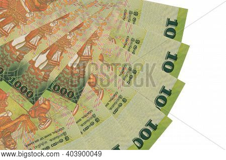 1000 Sri Lankan Rupees Bills Lies Isolated On White Background With Copy Space Stacked In Fan Shape