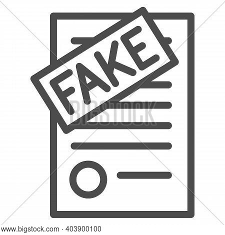 Fake Documents Line Icon, Black Bookkeeping Concept, Forgery Page Of Contract Sign On White Backgrou