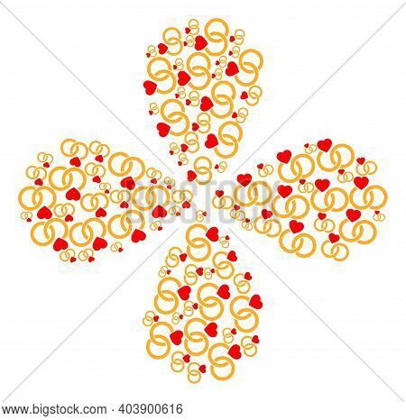 Marriage Rings Curl Flower With Four Petals. Element Flower With 4 Petals Organized From Oriented Ma