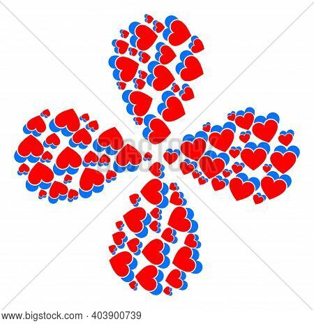 Love Hearts Exploding Flower With Four Petals. Element Flower With 4 Petals Combined From Oriented L