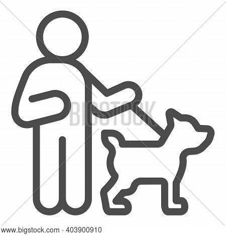 Blind Man With Dog Line Icon, Disability Concept, Blind Man On A Walk And A Guide Dog Sign On White