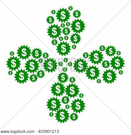 Dollar Rosette Explosion Abstract Flower. Object Centrifugal Explosion Done From Oriented Dollar Ros