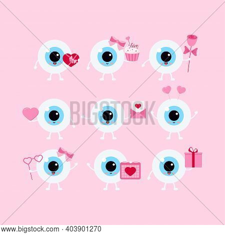 Eye Valentines Day Vector Ophthalmology Love Icon Set. Flat Design Cartoon Smiling Eyeball Character