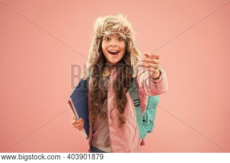 Final Exams. Arrival Day. Academic Term. Winter Semester. Teen With Backpack And Books. Stylish Scho