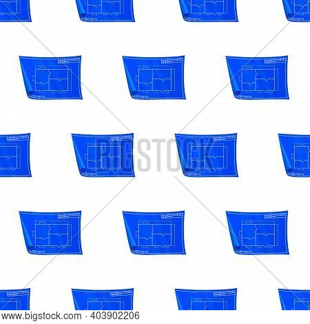 Technical Drawing Pattern. Nice New Drawing Of Blue Drawing Paper With House Drawing. For Builders A