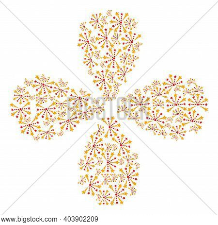 Pyrotechnic Salute Exploding Abstract Flower. Object Flower With 4 Petals Organized From Oriented Py