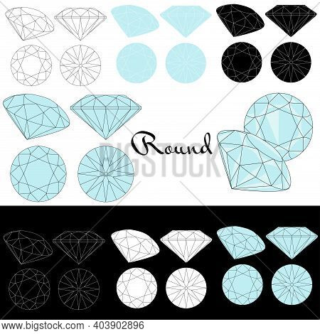 Round Cut. Cutting Gems Stones. Types Of Diamond Cut. Four Sides Of Jewelry With Facets For Backgrou