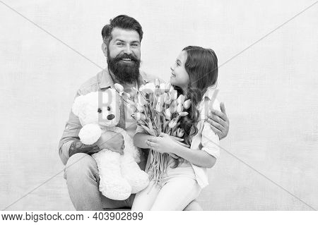 Wishing Happy Anniversary. Happy Family Celebrate Anniversary. Father And Daughter Hold Tulips And T