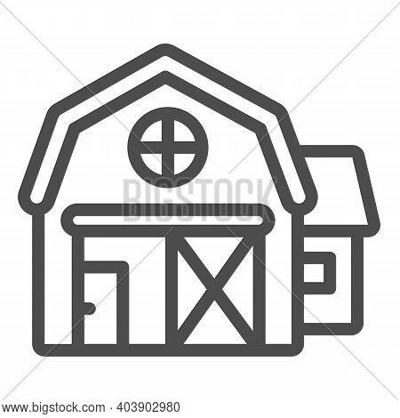 Farmer House Line Icon, Farm Garden Concept, Agriculture Farm House Building Sign On White Backgroun