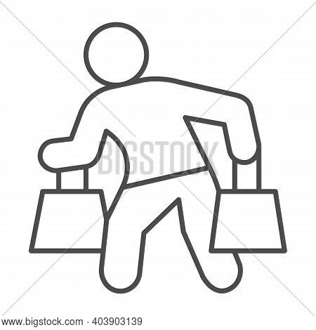 Man Carrying Shopping Bags Thin Line Icon, Shopping Concept, Man With Packages Sign On White Backgro