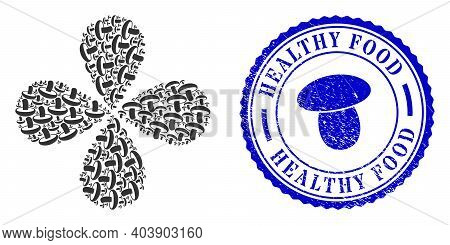 Mushroom Exploding Abstract Flower, And Blue Round Healthy Food Scratched Seal With Icon Inside. Ele