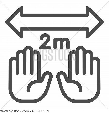 Hands And Limitation In Two Meters With Arrow Line Icon, Social Distancing Concept, Keep Safe Distan