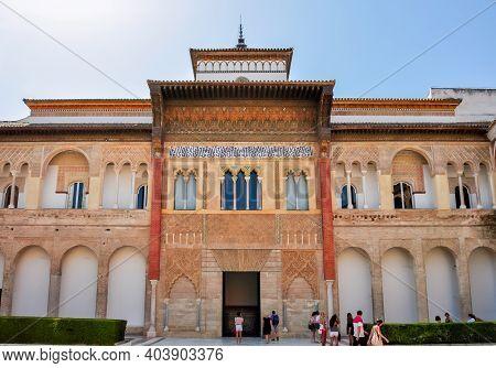 Seville, Spain - June 2018: Seville Alcazar Courtyard And Architecture