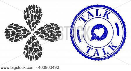 Message Cloud Exploding Flower With Four Petals, And Blue Round Talk Grunge Rubber Print With Icon I