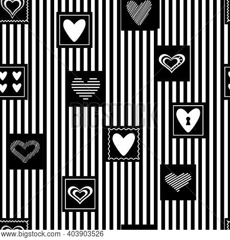 Seamless Vector Pattern. On A Striped Background, Black Squares With Different Hearts.