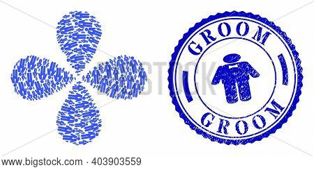 Groom Rotation Flower Shape, And Blue Round Groom Dirty Badge With Icon Inside. Element Flower With