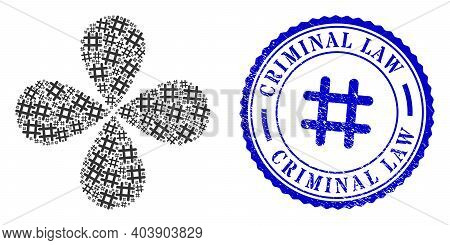 Jail Grid Centrifugal Flower Shape, And Blue Round Criminal Law Rubber Print With Icon Inside. Eleme