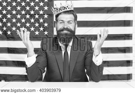 Cheerful Country Leader. Selfish Male In Suit Wear Crown. Victory And Freedom. Fourth Of July Us Ind