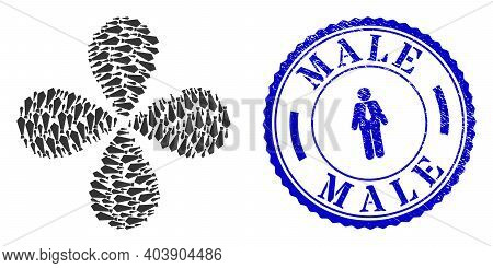 Male Tie Swirl Flower Shape, And Blue Round Male Corroded Stamp With Icon Inside. Element Flower Cre