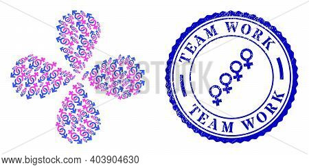 Gender Confrontation Symbol Rotation Flower Cluster, And Blue Round Team Work Rough Rubber Print Wit