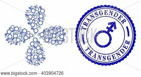 Alternate Gender Symbol Explosion Flower With Four Petals, And Blue Round Transgender Grunge Stamp I