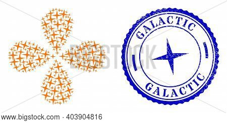 Space Star Swirl Burst, And Blue Round Galactic Rubber Stamp Imitation With Icon Inside. Object Flow
