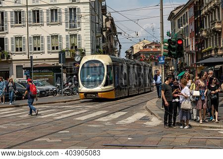 Streets Of Milan / Milan / Italy - July 3, 2019: Historic Tram On The Streets Of Milan. This Transpo