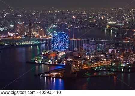 Osaka, Japan - November 10, 2017: Areal View Of Osaka Port Area And Osaka Night Cityscape, View From