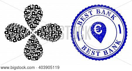 Rouble Centrifugal Flower With Four Petals, And Blue Round Best Bank Rough Seal With Icon Inside. Ob