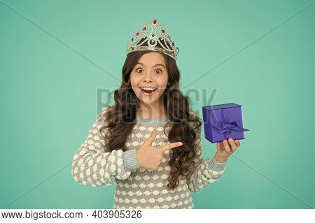 Just Look At That. Happy Birthday. Birthday Princess. Kid Silver Crown Symbol Of Glory. Portrait Of