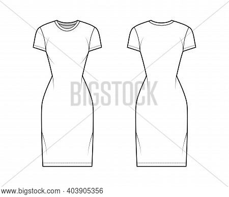 T-shirt Dress Technical Fashion Illustration With Crew Neck, Short Sleeves, Knee Length, Slim Fit, P