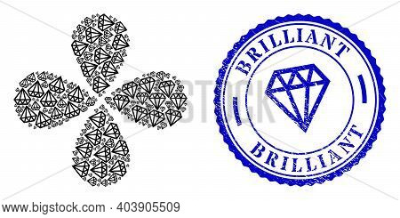 Brilliant Rotation Spin, And Blue Round Brilliant Rough Stamp Imitation With Icon Inside. Element Fl