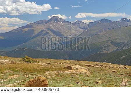 High Mountains Viewed From The Alpine Tundra In Rocky Mountain National Park In Colorado