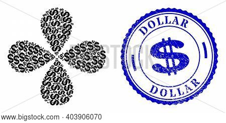 Dollar Rotation Abstract Flower, And Blue Round Dollar Grunge Rubber Print With Icon Inside. Element